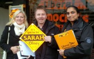 Nick Perry with colleagues at the North Kingston by-election campaign HQ.