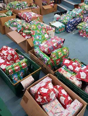 Gifts ready for distribution.