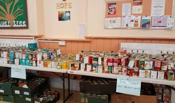 Tinned food for the hampers.