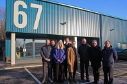 Outside BD Foods new factory unit, managing director John Davis, far right, next to council leader Peter Chowney (photo: HBC).