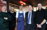 From left, Paul Joy, Hastings Fishermen's Protection Society, Cllr Peter Chowney, leader HBC, Paul Webbe, chef and owner of Webbes Restaurants, Andrew Wells, non-executive board member MMO, and Steve Manwaring, FLAG chair (photo: HBC).