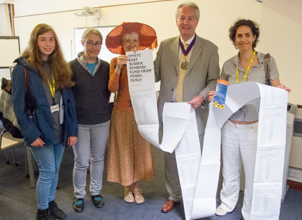 A previous divestment petition was handed in to ESCC in July last year (photo: Divest East Sussex).