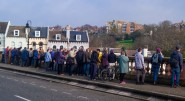 participants in the previous greenway walk on the South Terrace bridge over the railway.