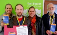 Julia Hilton, second right, helping to hand in a petition in March calling for divestment by the East Sussex Pension Fund.