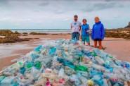 Plastic bottles found on the beach