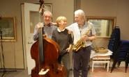 The Geoff Simkins Trio : from left, xx (bass), Ilona and Geoff Simkins (tenor sax).