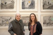 Sir Quentin Blake with Jerwood Gallery director, Liz Gilmore