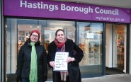 Julia Hilton, right, and Andrea Needham, the Green Party's councillor candidates  for Old Hastings ward, prepare to hand in the petition at Muriel Matters House.