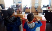 Ben and Sam enjoying the Automata Exhibition at the Hastings Pier