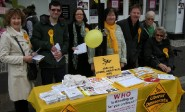 LibDems campaigning against a hard Brexit, with Eve Montgomery, fourth from right, next to Nick Perry.