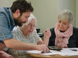 Art tutor Robert Sample, Celia Mortimer and her daughter Julia.