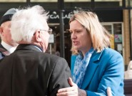 In better days: Amber Rudd campaigning in Hastings in 2015.