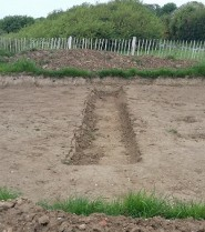 A trench dug as part of the archeological investigations.
