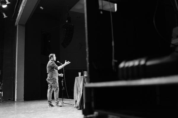 Mark Thomas on stage