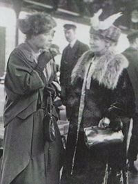Emmeline Pankhurst (right) sporting half a bird on her hat.