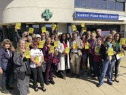 Dawn Butler MP and Peter Chowney, parliamentary candidate for the Labour Party (centre) with Walk-in Centre campaigners last Saturday