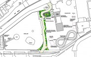 Sketch showing the new footpath, shaded green, planned by the amusement park owner - the existing path, not shown, will be absorbed into the park (diagram from Revised Site Plan).