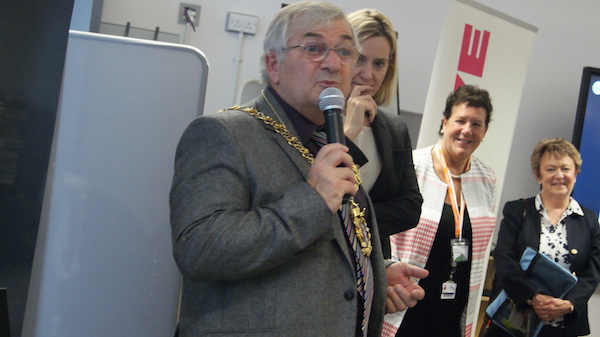 Mayor Nigel Sinden and MP Amber Rudd