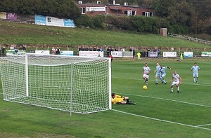Action from the Pilot Field: the U's miss a penalty in the recent 2-4 home defeat to Whyteleafe in the FA Trophy.