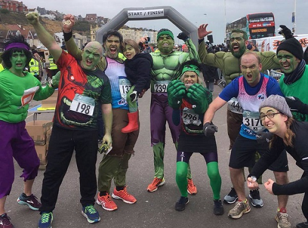 Nine Hulks raised £4,000 for the A-T Society in the 2018 Hastings Half Marathon.