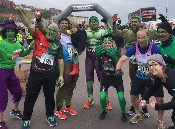 Nine Hulks raised £4,000 for the A-T Society in the 2018 Hastings Half Marathon.