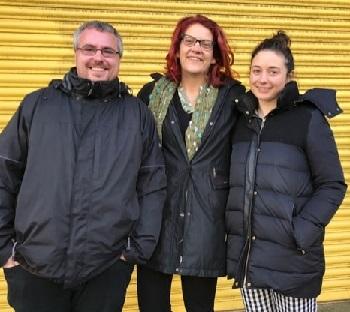 Team members: John Brunton, left, Jess Steele and Beth Woolf.