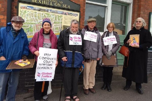 Members of the Bexhill and Hastings branch of Global Justice now campaigning against corporate courts.