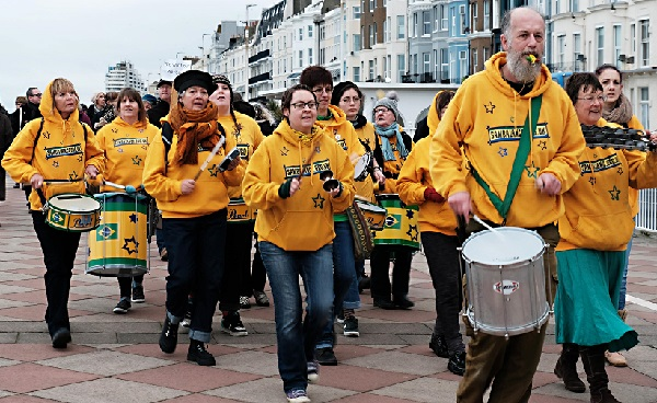 Samba band Sambalanco led the march from Warrior Square to the pier.