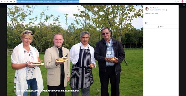 Cllr Alan Roberts, right, beside Sheikh Abid Gulzar and his agent Brett Maclean at a charity event in 2015 (source: Alan Roberts' Facebook page).