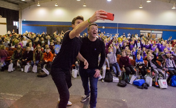 Local authors and BBC Radio stars Greg James and Chris Smith at a reading event with local schoolchildren (photo: Get Hastings Reading).