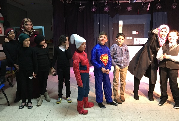 Palestinian schoolchildren rehearse for a performance at the Freedom Theatre in Jenin.
