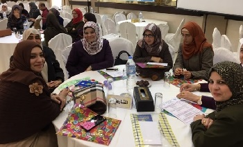 Members of a new association of Palestinian teachers of English at their first conference.