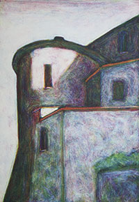 Tower, Casole, evening (monoprint)