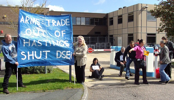Demonstration outside defence supplier General Dynamics in Hastings on the occasion of DSEI 2011.