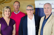 New Writing South prize winners: L-R: Andrea Samuelson; Antony Mair; NWS chief executive Lesley Wood and Glyn Carter.