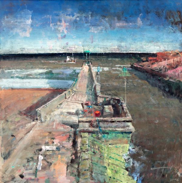 Rye Harbour Entry Storm by Guy Cuming RA