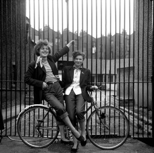 "© Ken Russell/TopFotos, 'Freewheelin' January 1955 ""The Last of the Teddy Girls"" Elsie Hendon (15) and Jean Rayner (14) outside the Seven Feathers Club, where they did the popular Ted dance, The Creep."