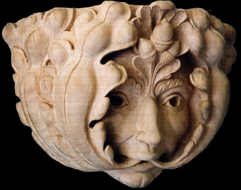 Green Man: carved limewood.