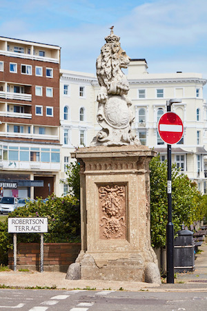 The decaying Lion and the Unicorn statues on Robertson Terrace were originally destined for Buckingham Palace and donated to Hastings by Decimus Burton Photo Jonny Thompson