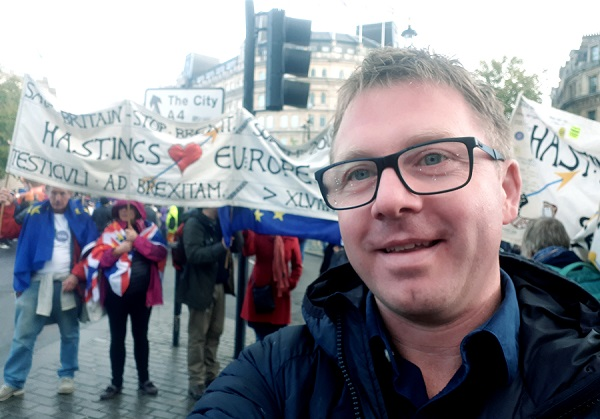Lib Dem candidate Nick Perry at the People's Vote march in London last Saturday. A contingent of Hastings Greens also participated.