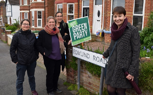 Greens campaigning in last year's local elections: Andrea Needham, left, Julia Hilton and, right, MP Caroline Lucas (photo: Green Party).