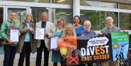Campaigners hand in the petition calling for divestment of the East Sussex Pension Fund from fossil fuel companies (photo: Divest East sussex).