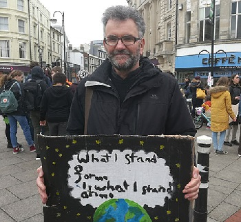 Peter Chowney at a students' climate strike gathering.