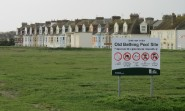 """""""Please use this greenspace respectfully,"""" says the notice. Plans call for 152 dwellings to be built here, although the Local Plan only stipulates 120."""