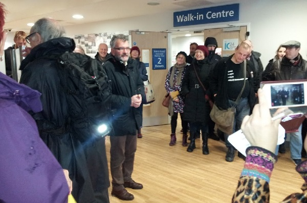 Peter Chowney campaigning to keep the Station Plaza Walk-In Centre open earlier this year.
