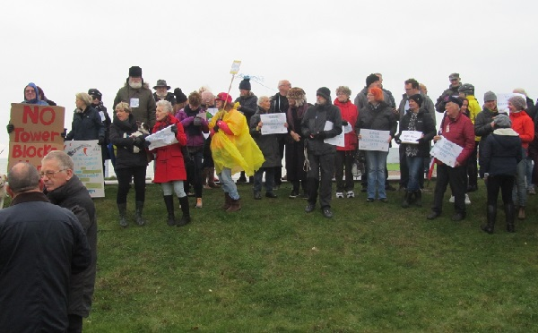 Protesters with a message at the old Bathing Pool site in West St Leonards.