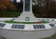 A white poppy wreath laid at the war memorial in Alexandra Park.