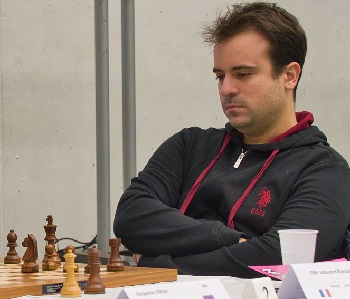 French GM Romain Edouard, whose mis-move against GM Gergely Kantor lost him a half point (photo: Brendan O'Gorman).