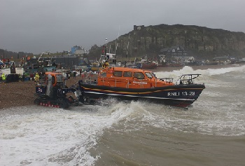 The lifeboat launches.
