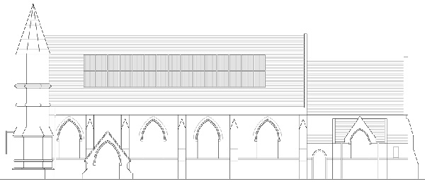 Schematic showing the 30 solar panels on the church roof (image: HS/LB/19/00890 Elevation Drawing).